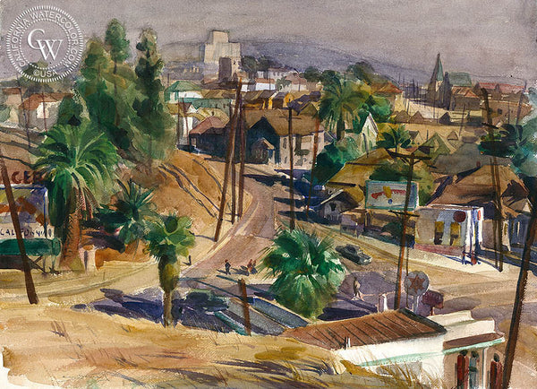 Welcome to California, c. 1940's, California art by Emil Kosa Jr.. HD giclee art prints for sale at CaliforniaWatercolor.com - original California paintings, & premium giclee prints for sale