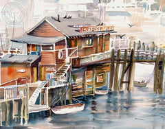 Sams Seafood, California art by Erle Loran. HD giclee art prints for sale at CaliforniaWatercolor.com - original California paintings, & premium giclee prints for sale