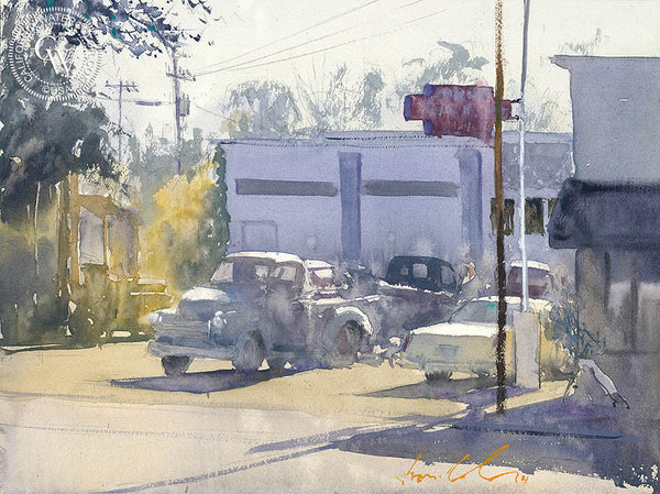 Claasen's Radiator Service, California art by Frank Eber. HD giclee art prints for sale at CaliforniaWatercolor.com - original California paintings, & premium giclee prints for sale