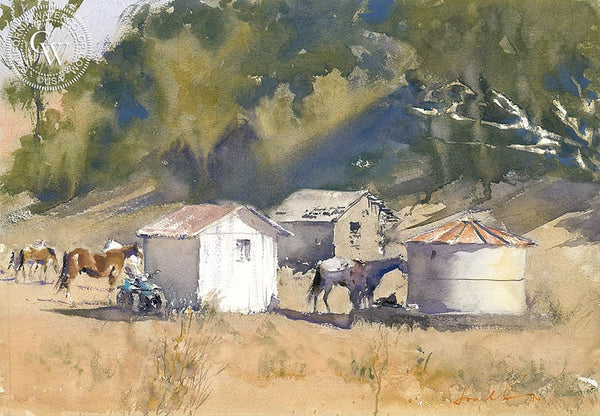 Horse Back, Central CA, California art by Frank Eber. HD giclee art prints for sale at CaliforniaWatercolor.com - original California paintings, & premium giclee prints for sale