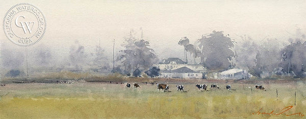 Los Osos Crowds, California art by Frank Eber. HD giclee art prints for sale at CaliforniaWatercolor.com - original California paintings, & premium giclee prints for sale