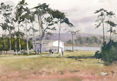Lunchtime Walk, Morro Bay, California art by Frank Eber. HD giclee art prints for sale at CaliforniaWatercolor.com - original California paintings, & premium giclee prints for sale