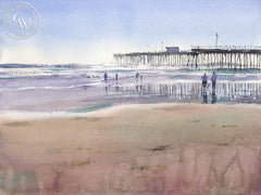 Pismo Beach Pier, California art by Frank Eber. HD giclee art prints for sale at CaliforniaWatercolor.com - original California paintings, & premium giclee prints for sale