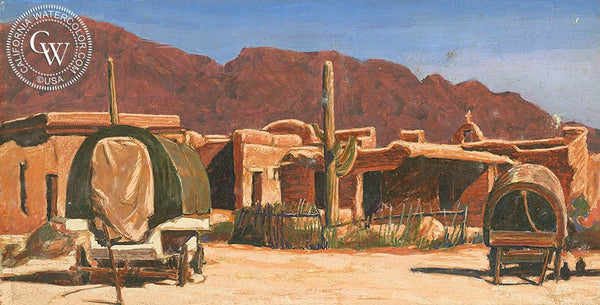 Adobe with Wagons, California art by Frank J. Gavencky. HD giclee art prints for sale at CaliforniaWatercolor.com - original California paintings, & premium giclee prints for sale