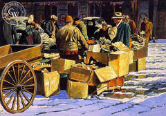 Chicago Market Scene, c. 1940s, California art by Frank J. Gavencky. HD giclee art prints for sale at CaliforniaWatercolor.com - original California paintings, & premium giclee prints for sale