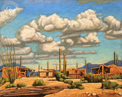 Frank J. Gavencky - Desert Village, Santa Fe, an original California oil painting for sale, original California art for sale - CaliforniaWatercolor.com
