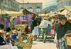 Mexican Market, California art by Frank J. Gavencky. HD giclee art prints for sale at CaliforniaWatercolor.com - original California paintings, & premium giclee prints for sale
