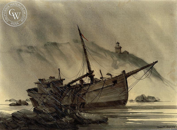 Wreck of the Henry Mae, California art by Frank M. Hamilton. HD giclee art prints for sale at CaliforniaWatercolor.com - original California paintings, & premium giclee prints for sale