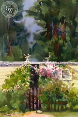 Little House in the Redwoods, California art by Frank LaLumia. HD giclee art prints for sale at CaliforniaWatercolor.com - original California paintings, & premium giclee prints for sale