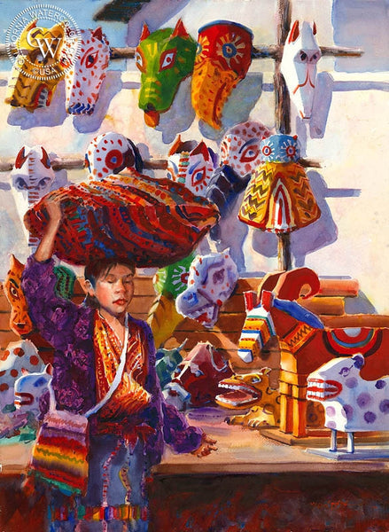 Market Day, Chichicastenango, Guatemala, California art by Frank LaLumia. HD giclee art prints for sale at CaliforniaWatercolor.com - original California paintings, & premium giclee prints for sale