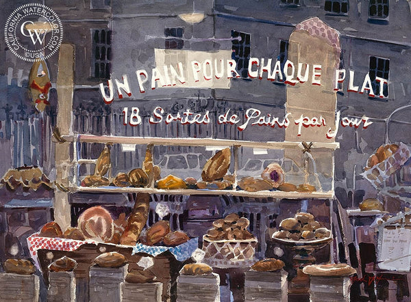 Petit Dejeuner, California art by Frank LaLumia. HD giclee art prints for sale at CaliforniaWatercolor.com - original California paintings, & premium giclee prints for sale