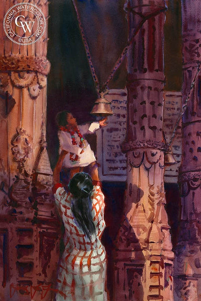 Ring the Temple Bells, Durga Temple, Varanasi India, California art by Frank LaLumia. HD giclee art prints for sale at CaliforniaWatercolor.com - original California paintings, & premium giclee prints for sale