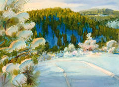 Snow in the Foothills, California art by Frank LaLumia. HD giclee art prints for sale at CaliforniaWatercolor.com - original California paintings, & premium giclee prints for sale