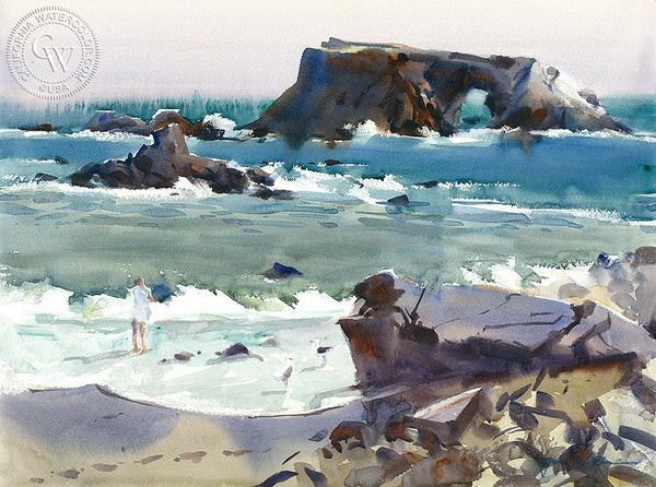 Sonoma, Goat Rock State Park, California art by Frank LaLumia. HD giclee art prints for sale at CaliforniaWatercolor.com - original California paintings, & premium giclee prints for sale