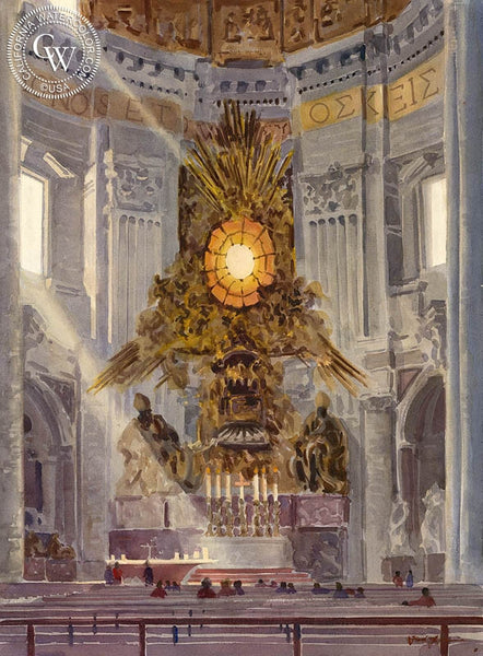 St. Peter's Basilica, Rome, California art by Frank LaLumia. HD giclee art prints for sale at CaliforniaWatercolor.com - original California paintings, & premium giclee prints for sale