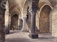 The Abbey at Mont San Michel, Normandy, France, California art by Frank LaLumia. HD giclee art prints for sale at CaliforniaWatercolor.com - original California paintings, & premium giclee prints for sale