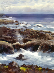 The Spouting Horn, Captain Cook's Chasm, Cape Perpetua, Oregon, California art by Frank LaLumia. HD giclee art prints for sale at CaliforniaWatercolor.com - original California paintings, & premium giclee prints for sale