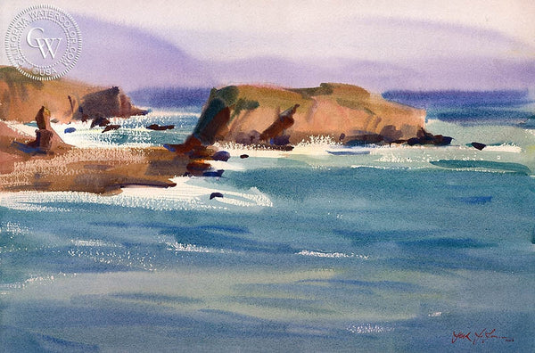 Where the Russian River Meets the Sea, California art by Frank LaLumia. HD giclee art prints for sale at CaliforniaWatercolor.com - original California paintings, & premium giclee prints for sale
