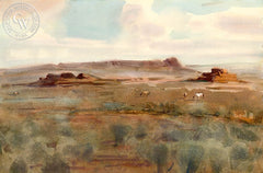 Wild Horses, California art by Frank LaLumia. HD giclee art prints for sale at CaliforniaWatercolor.com - original California paintings, & premium giclee prints for sale