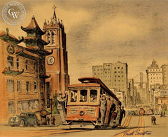 San Francisco Trolley, California art by Frank Serratoni. HD giclee art prints for sale at CaliforniaWatercolor.com - original California paintings, & premium giclee prints for sale