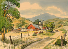 Farm with Horses, California art by Frank Serratoni. HD giclee art prints for sale at CaliforniaWatercolor.com - original California paintings, & premium giclee prints for sale
