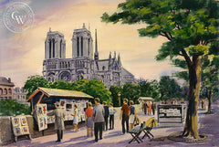 Notre Dame Cathedral, Paris, California art by Frank Serratoni. HD giclee art prints for sale at CaliforniaWatercolor.com - original California paintings, & premium giclee prints for sale