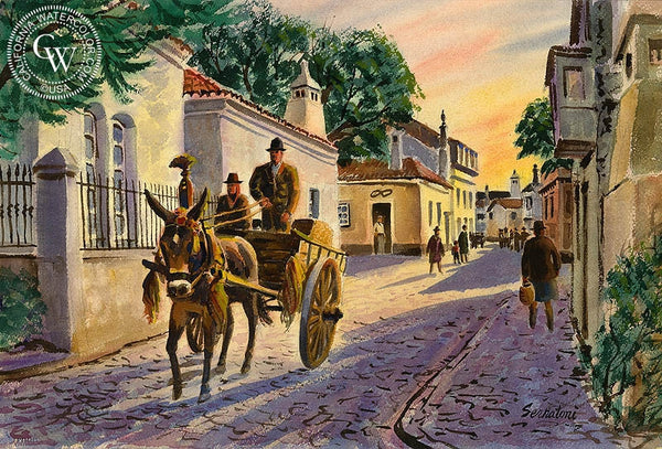 Portugal, California art by Frank Serratoni. HD giclee art prints for sale at CaliforniaWatercolor.com - original California paintings, & premium giclee prints for sale