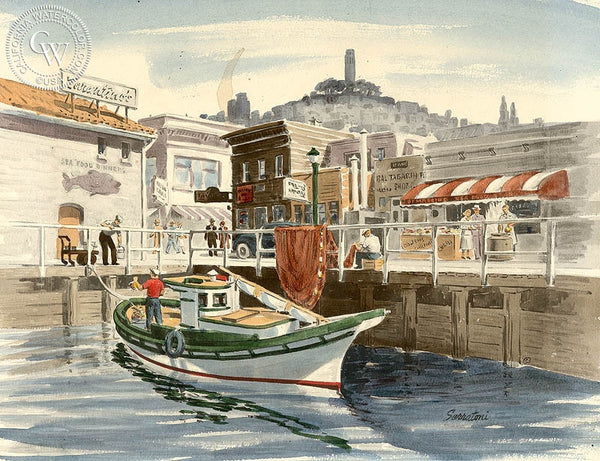 The Wharf, California art by Frank Serratoni. HD giclee art prints for sale at CaliforniaWatercolor.com - original California paintings, & premium giclee prints for sale