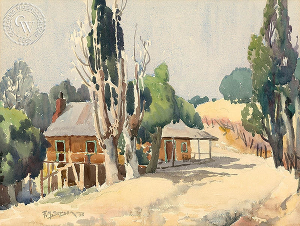 Country Home, 1935, California art by Fred Sersen. HD giclee art prints for sale at CaliforniaWatercolor.com - original California paintings, & premium giclee prints for sale