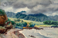 Hawaiian Coastal, California art by Fred Sersen. HD giclee art prints for sale at CaliforniaWatercolor.com - original California paintings, & premium giclee prints for sale