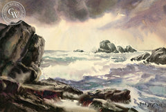 Northern California Seascape, 1947, California art by Fred Sersen. HD giclee art prints for sale at CaliforniaWatercolor.com - original California paintings, & premium giclee prints for sale