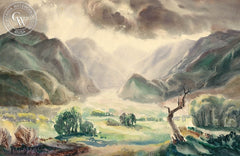Sun Struck Valley, 1947, California art by Fred Sersen. HD giclee art prints for sale at CaliforniaWatercolor.com - original California paintings, & premium giclee prints for sale