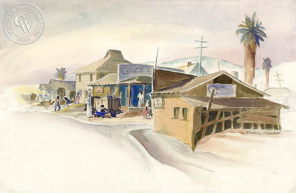 Pumping Gas, California art by Frederic Johnston. HD giclee art prints for sale at CaliforniaWatercolor.com - original California paintings, & premium giclee prints for sale