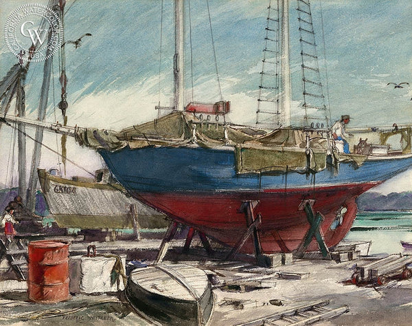Frederic Whitaker - Drydock, July, 1952, California art, original California watercolor art for sale - CaliforniaWatercolor.com
