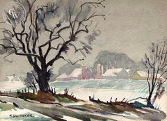 Frederic Whitaker - First Snow, California art, original California watercolor art for sale - CaliforniaWatercolor.com
