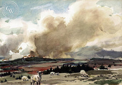 Frederic Whitaker - Grazing Sheep, California art, original California watercolor art for sale - CaliforniaWatercolor.com