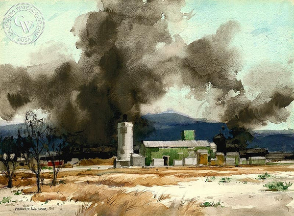 Frederic Whitaker - Oil in the Desert, California art, original California watercolor art for sale - CaliforniaWatercolor.com