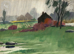 Rain, Tobacco Barns, California art, Frederic Whitaker, original California watercolor art for sale - CaliforniaWatercolor.com