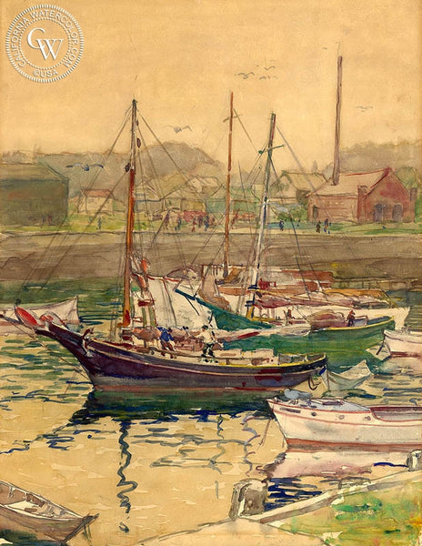 Frederic Whitaker - Rockport, 1933, California art, original California watercolor art for sale - CaliforniaWatercolor.com