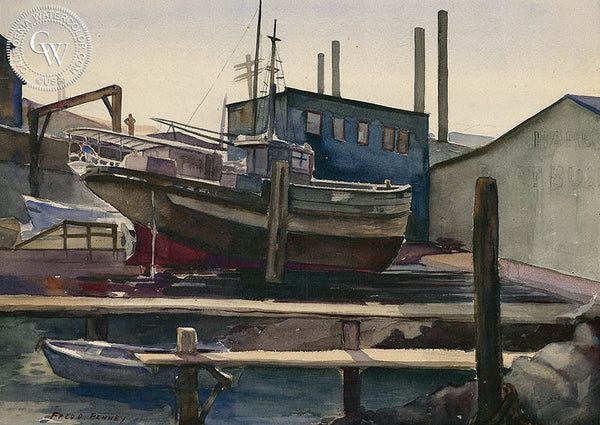 Fish Harbor, San Francisco, 1938, California art by Frederick Penney. HD giclee art prints for sale at CaliforniaWatercolor.com - original California paintings, & premium giclee prints for sale