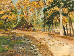 Autumn Leaves, California art by Frederick Schwankovsky. HD giclee art prints for sale at CaliforniaWatercolor.com - original California paintings, & premium giclee prints for sale