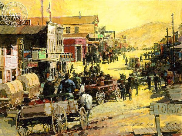Goldfield Nevada, Depiction of 1904, California art by George Akimoto. HD giclee art prints for sale at CaliforniaWatercolor.com - original California paintings, & premium giclee prints for sale