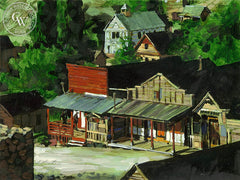 Western Town, California art by George Akimoto. HD giclee art prints for sale at CaliforniaWatercolor.com - original California paintings, & premium giclee prints for sale
