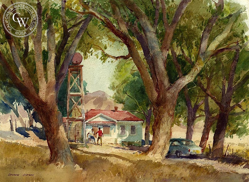 California Watercolor Art By George Gibson American Artist