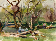 George Gibson - The Fishing Pool, Los Altos, CA, 1950, California art, original California watercolor art for sale - CaliforniaWatercolor.com