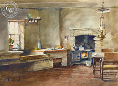 George Gibson - Herefordshire Kitchen, California art, original California watercolor art for sale - CaliforniaWatercolor.com