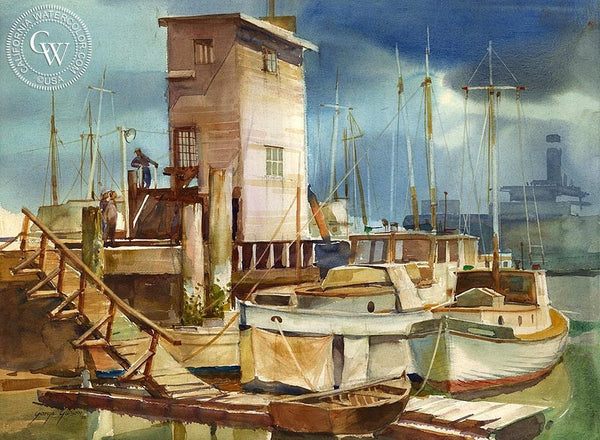 George Gibson - L.A. Dock Scene, 1936 - California art - Californiawatercolor.com