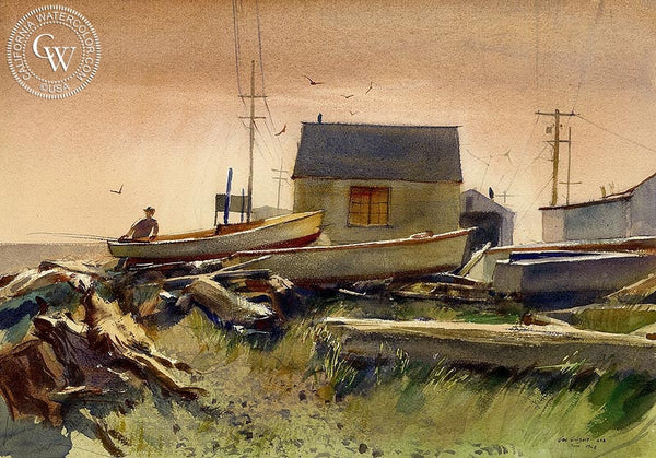 George Gibson - Launching Boat, 1968 - California art - Californiawatercolor.com