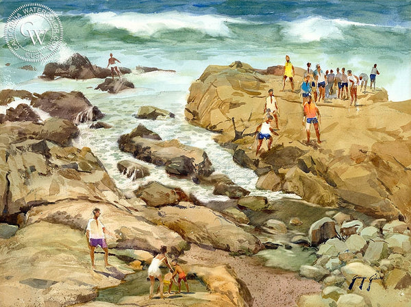 George Gibson - Moonstone Rocks, Cambria - California art - Californiawatercolor.com