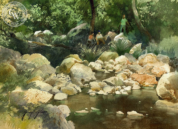 George Gibson - Shady Pause - California art - fine art print for sale, giclee watercolor print - Californiawatercolor.com